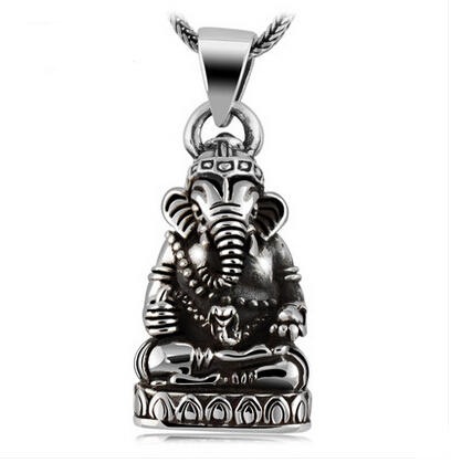Thailand Silver Lucky Elephant Trunk Statue Necklace Pendant No Chain