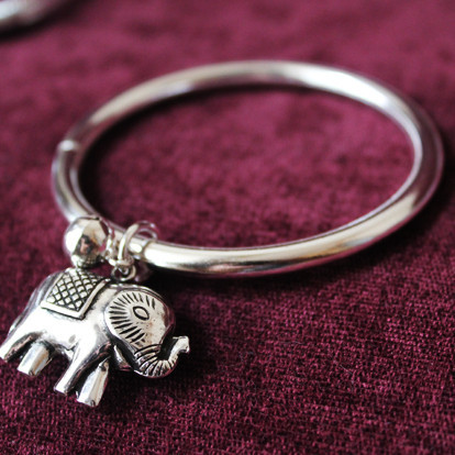 Thailand 925 Silver Elephant Bracelet With Bell