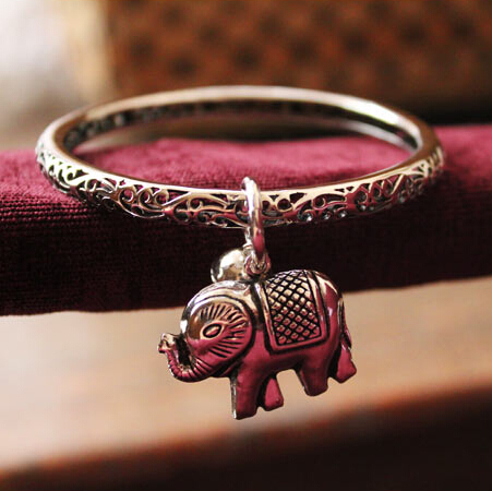 Thailand Elephant Charms Hollow Carved Ethnic Bracelet