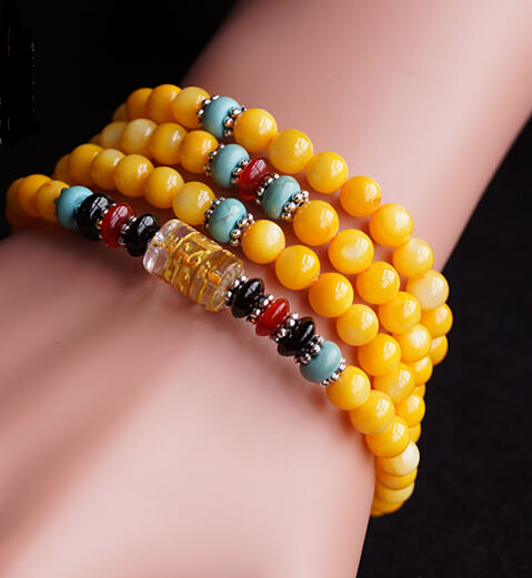Natural 6mm Yellow Tridacna Om Mani Padme Hum 108 Prayer