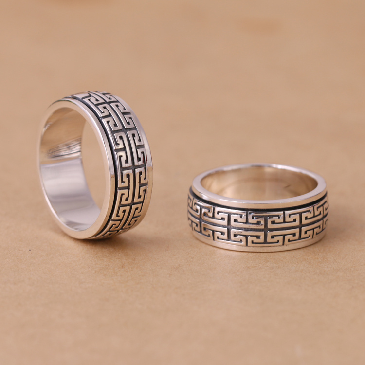 Vintage Style Thailand 925 Silver Spinning Ring For Men