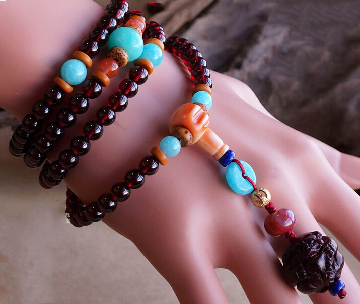 Amazing Limited 5A Grade Sri Lanka Garnet 108 Beads 6MM Layered Prayer Bracelet