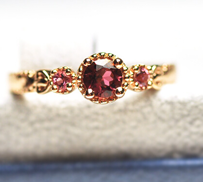 Brazil Natural Rose Pink Tourmaline 925 Silver 18k Gold Plated Princess Ring