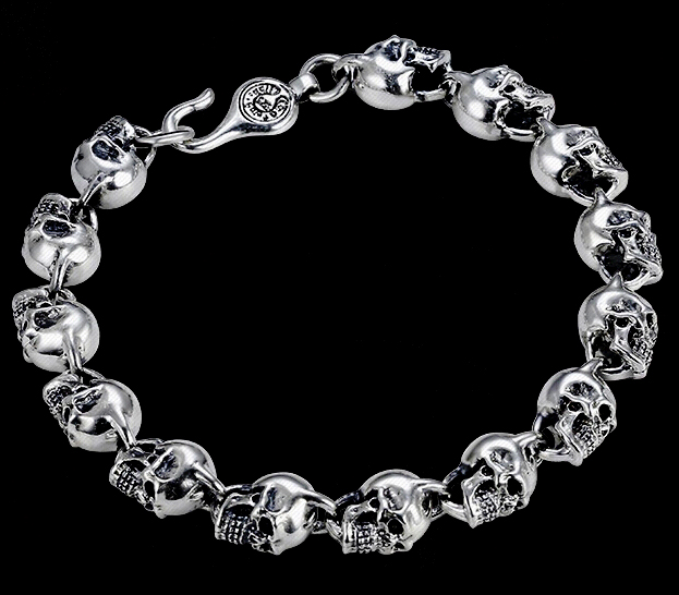 Chic Skeleton Thai Silver Vintage Bracelet For Man And Woman