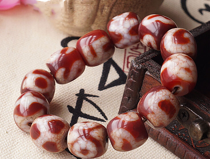 Consecration Tibetan Good Luck Totem Dzi Beads Wrist Malas Buddhist Prayer Beads Bracelet