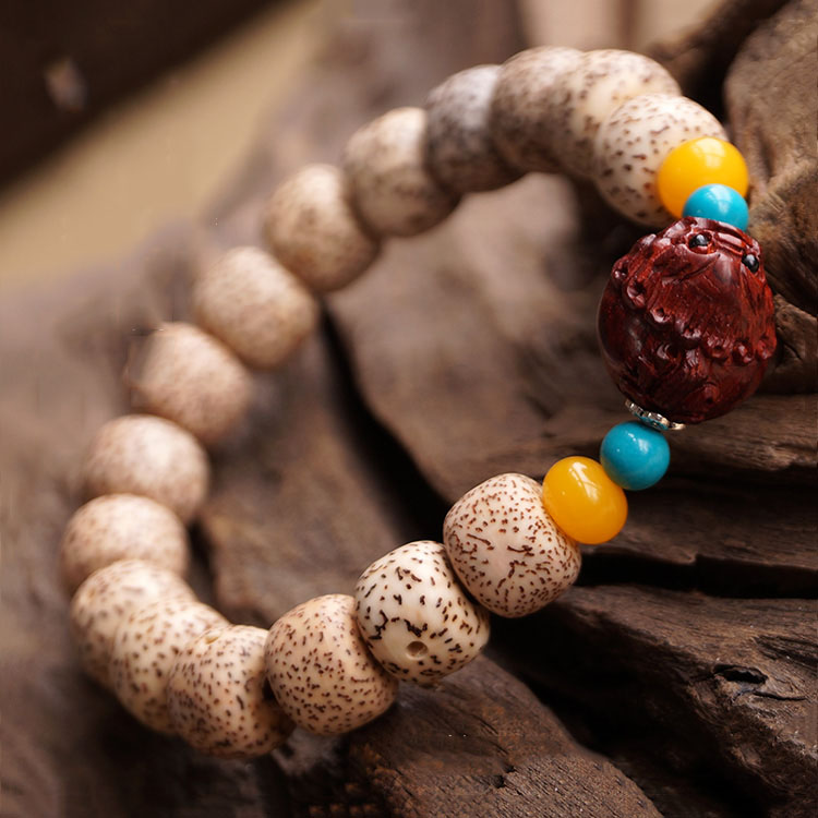 Daemonorops Margaritae Bodhi Prayer Bracelet with Rosewood Brave Troops