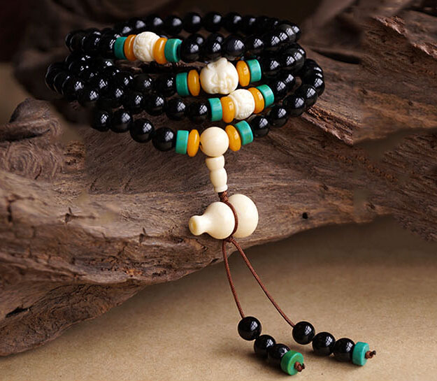 Exclusive 108 Natural Obsidian Beeswax Amber Lucky Layered Bracelet For Man Woman