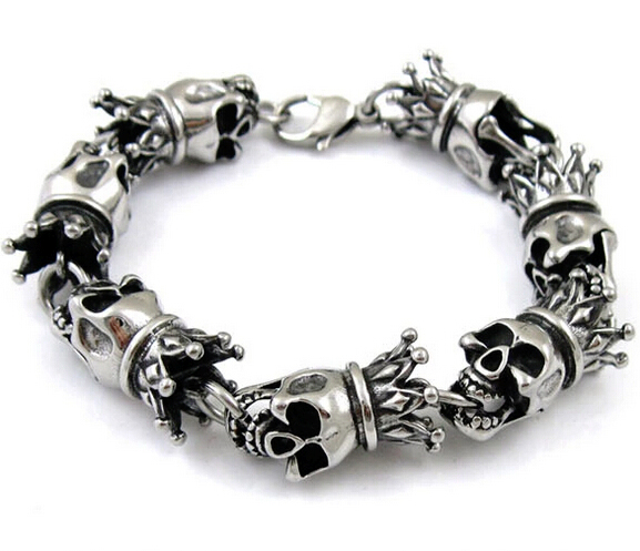 Fashion Punk Style Crown Skull Titanium Steel Bracelet