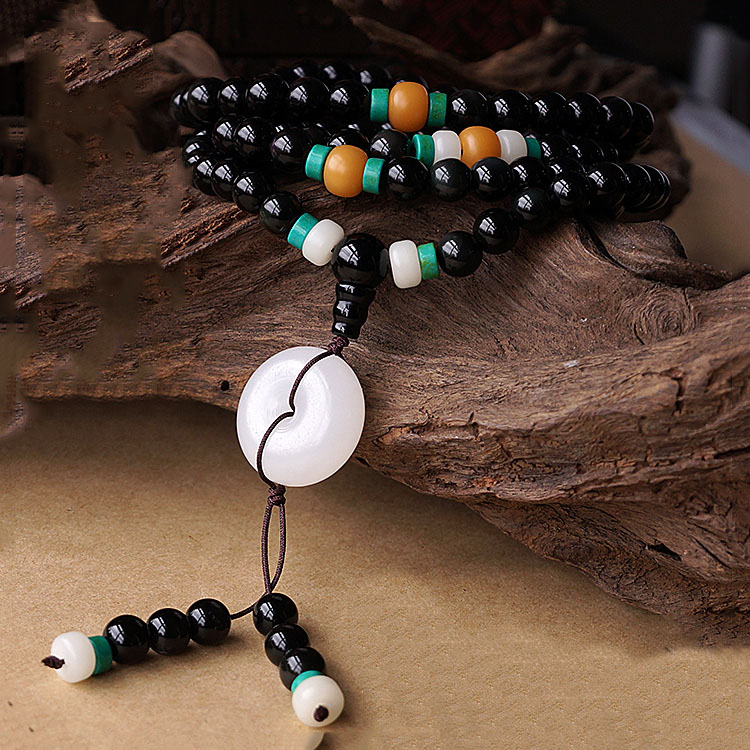 Fashion Tibetan Natural 8MM 108 Rainbow Obsidian Beads Multilayer Bracelet