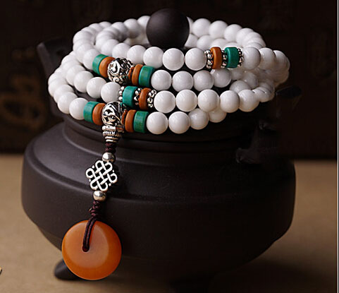 Handcraft 108 Natural 3A Grade 6MM White Tridacna Turquoise Beads With Yellow Amber Pendant Tibetan Silver Bracelet