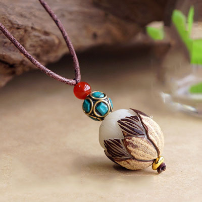 Handmade Exclusive Big Bodhi Seed With Half Peel Lotus Red Agate Turquoise Beads Pendant Necklace