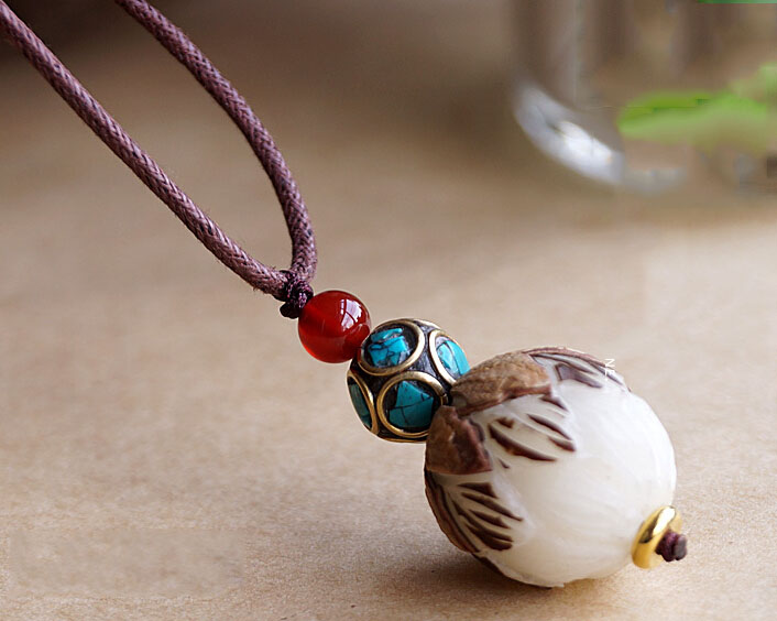 Handmade Exclusive Bodhi Seed With Half Peel Lotus Red Agate Turquoise Beads Pendant Necklace