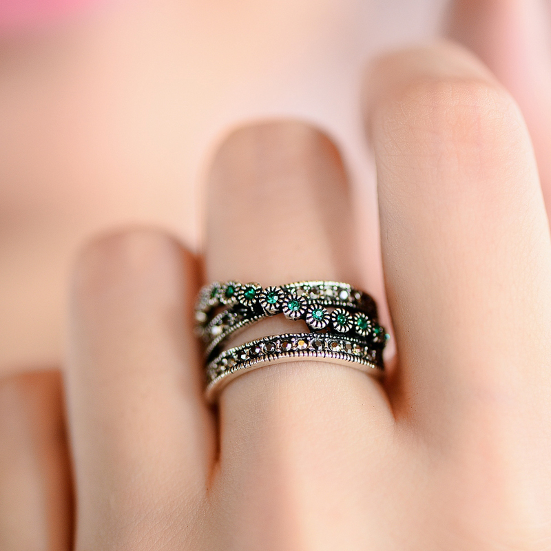 Handmade Vintage Green Crystal Layered Ring For Women