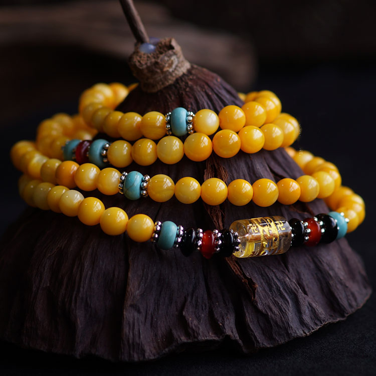 Natural 6MM Yellow Tridacna Om Mani Padme Hum 108 Prayer Beads Layered Bracelet