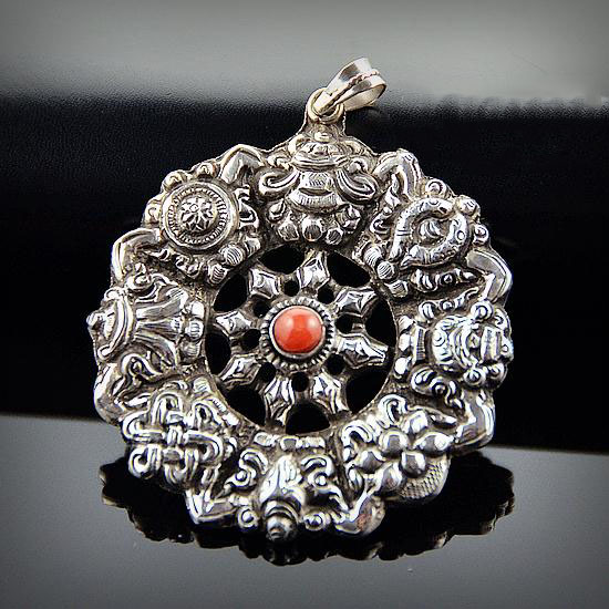 Nepal 925 Silver Handcraft Carving Eight Auspicious Symbols Pendant With Red Coral