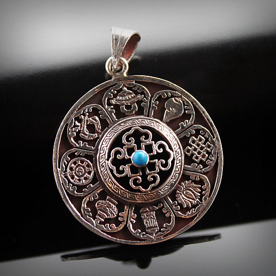 Nepal Fashion Handcraft Carving 925 Silver Eight Auspicious Symbols Hollow Out Round Pendant