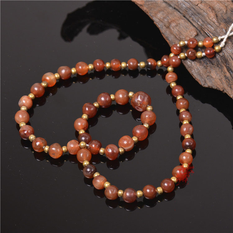 Qing Dynasty Old Red Agate Necklace