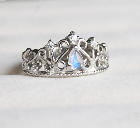 Vintage 925 Silver Zircon Crown Ring With Blue Moonstone