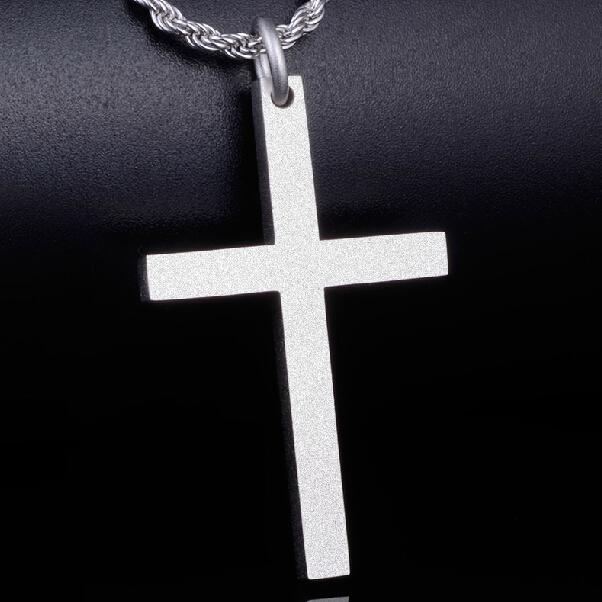 Fashion Jesus Christ Cross 925 Silver Glossy Pendant Man Woman