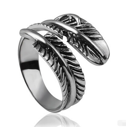 Retro Style 925 Silver Feather Open Ring For Girls