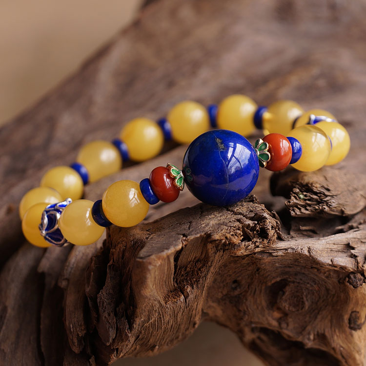 Baltic Sea Natural Amber with Big Lapis lazuli Bead Bracelet Limited Edition