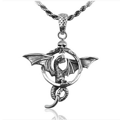 Retro 925 Sterling Silver Flying Dragon with Wings Man Necklace Pendant Sale