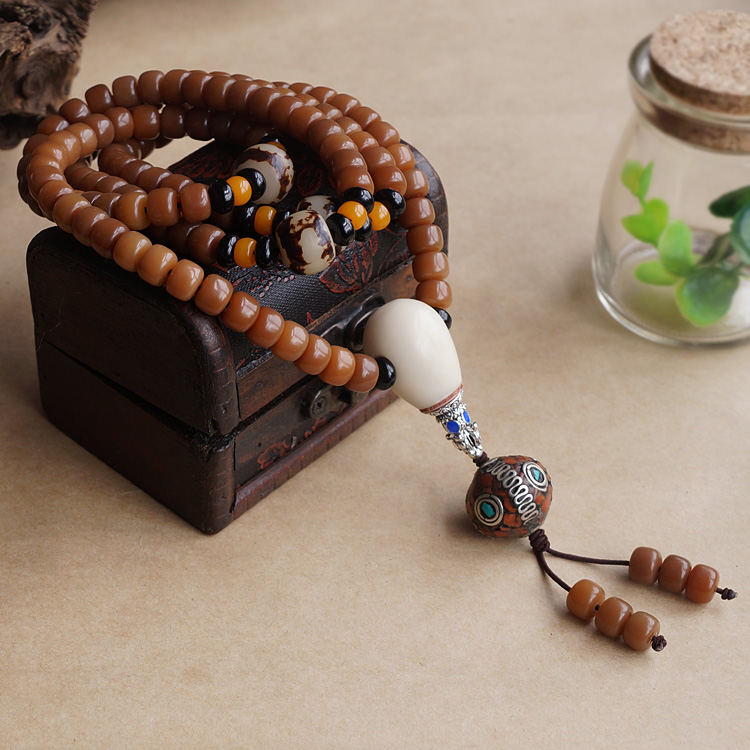 Weathering Old Bodhi Beads 108 Prayer Mala Bracelet