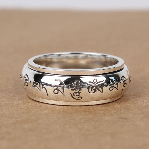 Handmade S990 Silver Om Mani Padme Hum Fashion Men Women