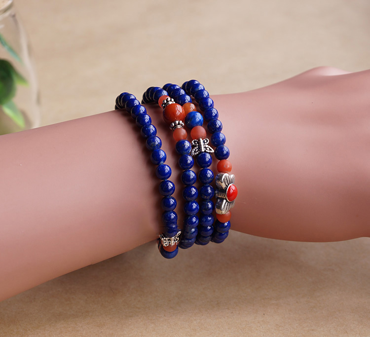 5MM 108 Natural Lapis Lazuli Malas With Chalcedony Agate Layered Buddhism Bracelet