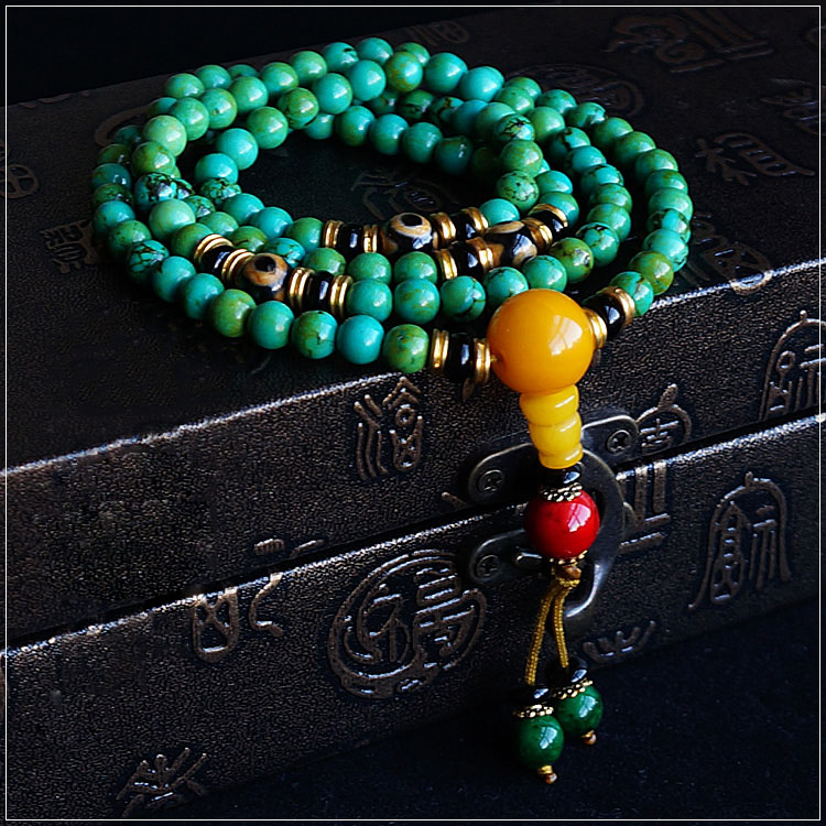 6mm Turquoise And Amber 108 Buddha Beads Bracelet