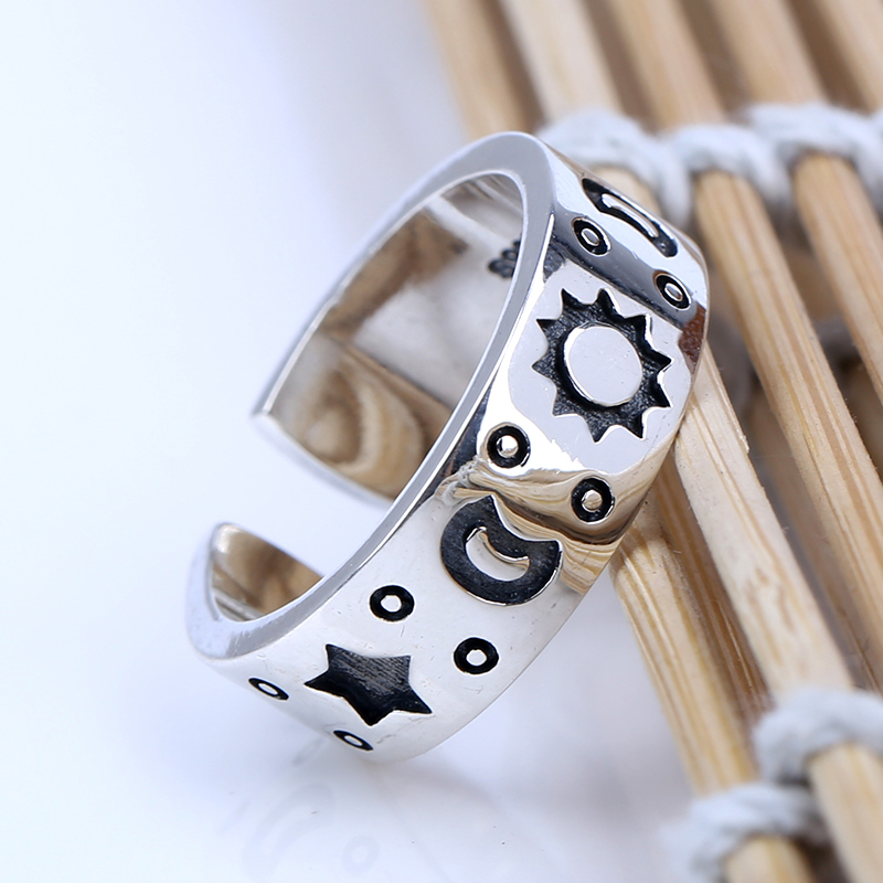 Lovely Simple 925 Sterling Silver Moon And Stars Opening Ring