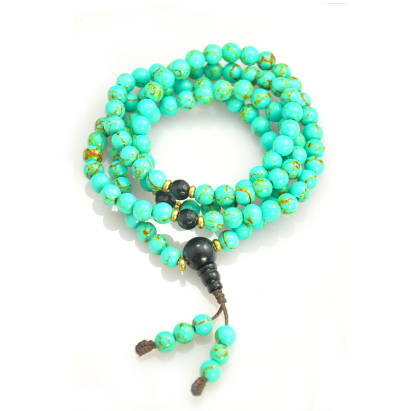 Natural Turquoise And Agate 108 Buddha Beads Bracelet
