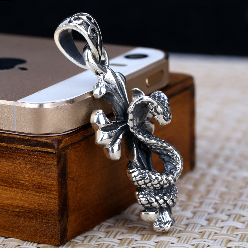 Retro S925 Silver Men Snake And Cross Pendant