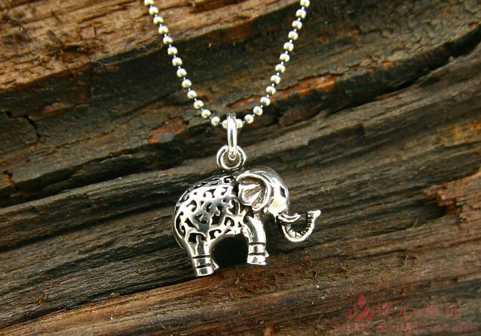 Retro S925 Silver Small Elephant Pendant With No Chain