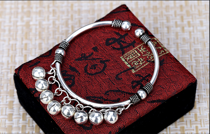Retro S925 Silver Women Hollow Open Bracelet With Bells