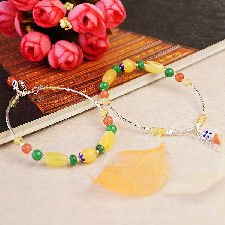 925 Silver Amber Healing Crystal Red Agate Green Emerald Treasure Bracelet