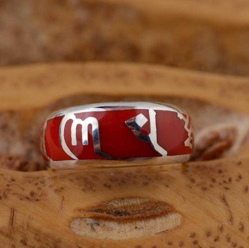 Nepal Handmade Jewellery Designs 925 Silver OM MANI PADME HUM Mantra Red Coral Ring