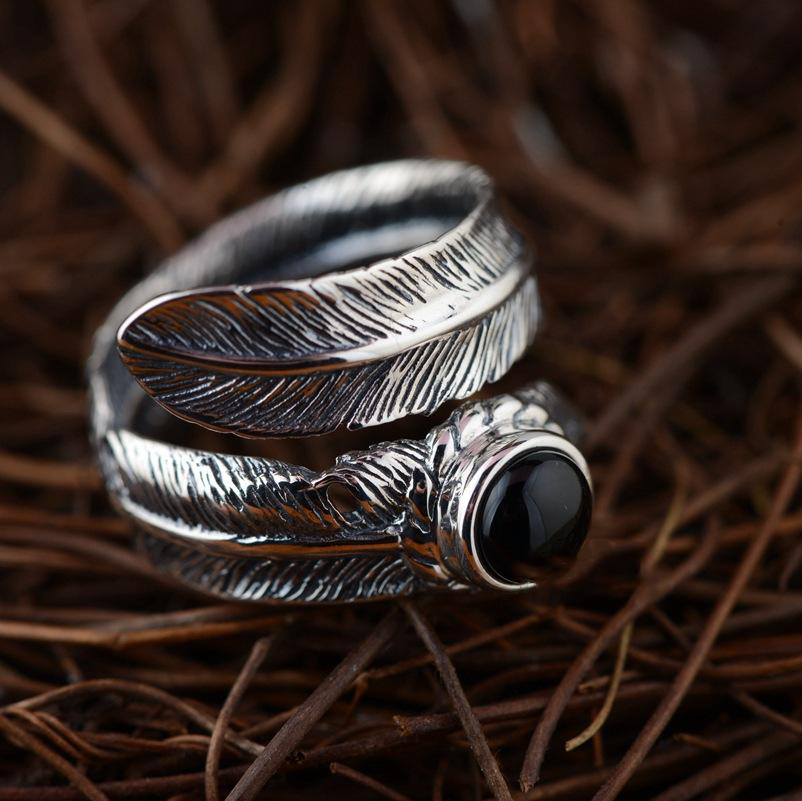 S925 Sterling Silver Agate Inlaid Feather Open Ring