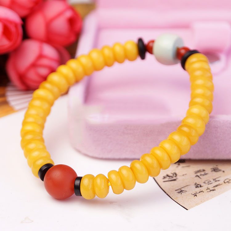 Natural Egg Yolk Amber And Red Chalcedony Bracelet