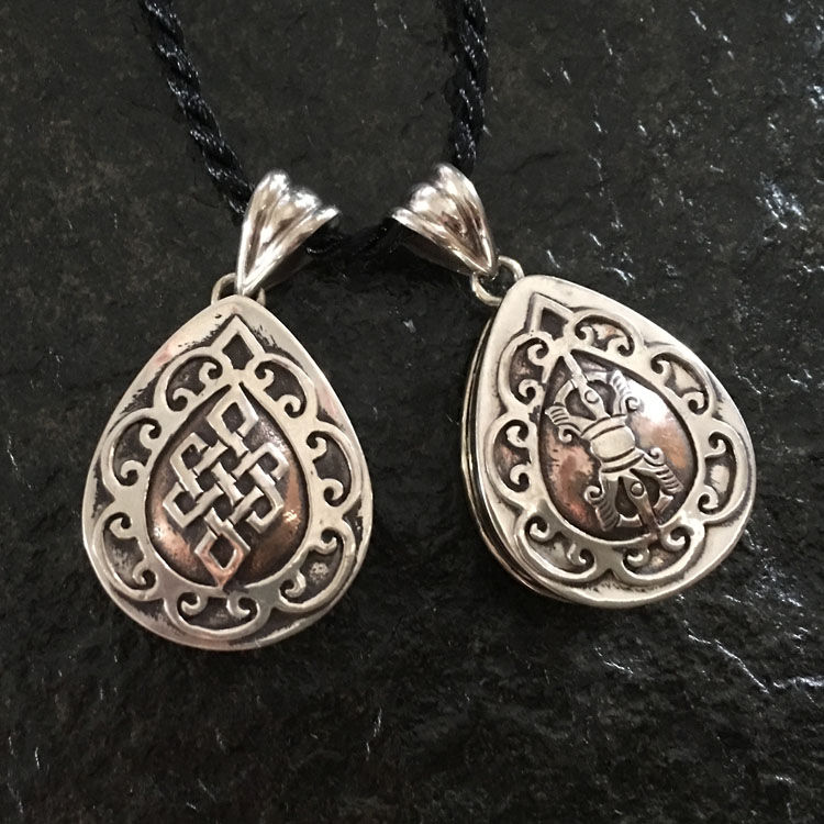 Vintage Handmade Nepal Heart-shaped Drop shape Pendant - Auspicious Buddhist Endless Knot Or Vajra Gau Pendant