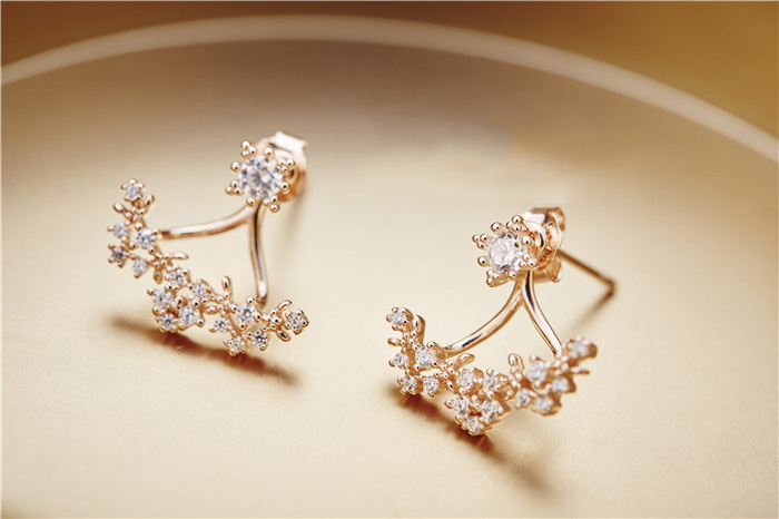 New 925 Silver Rose Gold Plated Zircon Earrings With Detachable Flower Branches