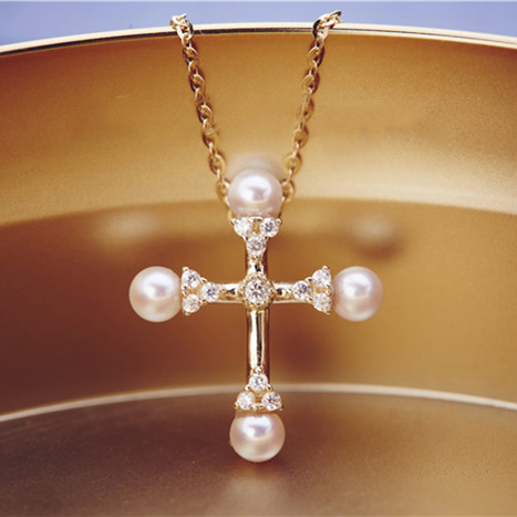 Vintage 925 Silver Gold-plated Cross Shaped Pearl Pendant Necklace
