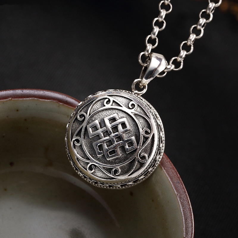 Vintage S925 Silver Auspicious Buddhist Endless Knot Openable Gau Box Antique Pendants No Chain