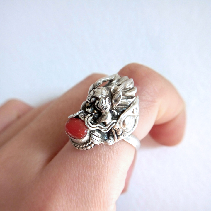 Nepal Handmade 925 Silver Red Coral Dragon Ring