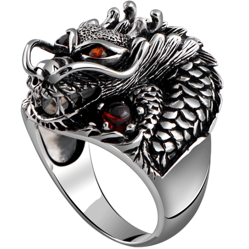 Vintage 925 Silver Dragon Ring - Wishbop